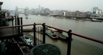 View from the balcony of the two bedroom flat on the Thames in Bermondsey